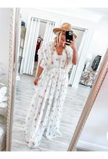 Ruffle Detail Maxi Dress - Cream