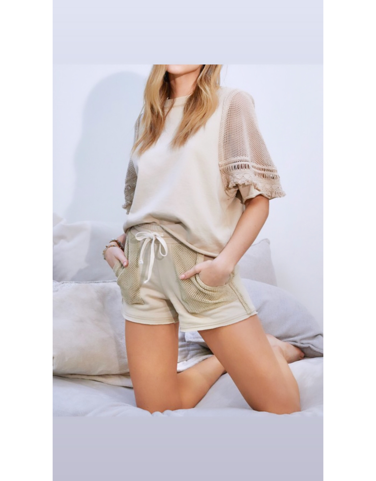 Mesh Detail French Terry Shorts - Sand
