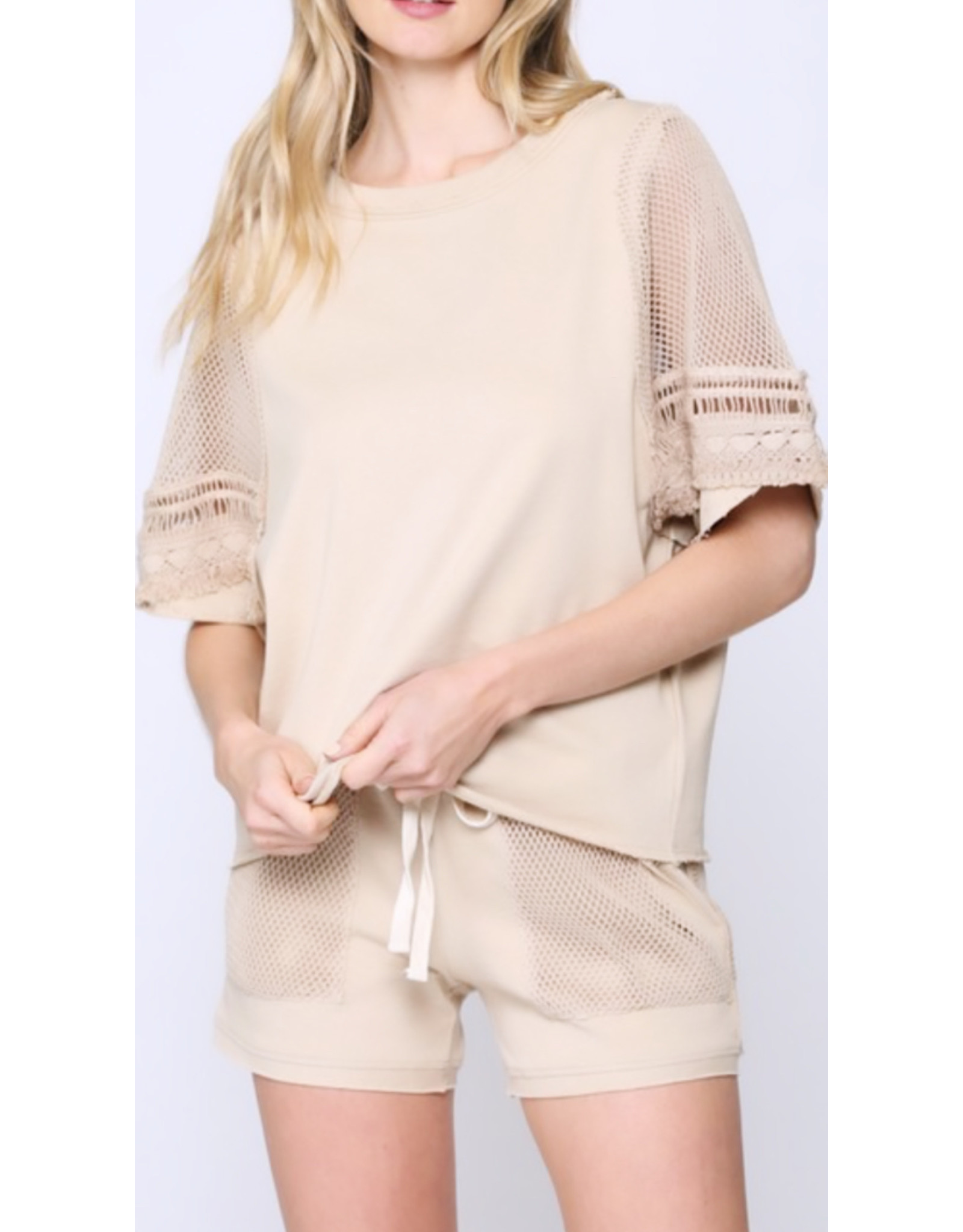 Mesh Detail French Terry Top - Sand