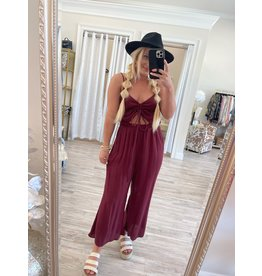 Synched Front Jumpsuit - Burgundy