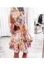 Metallic Tie Back Floral Dress - White