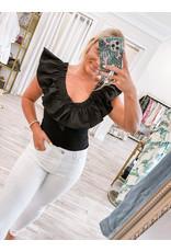 Jenna Ruffle Detail Bodysuit - Black
