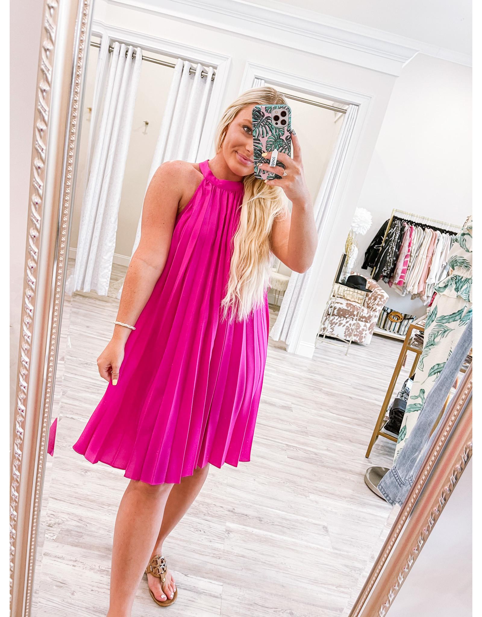 Pleated Halter Dress - Magenta
