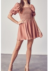 Smocked Neck Dress - Amber
