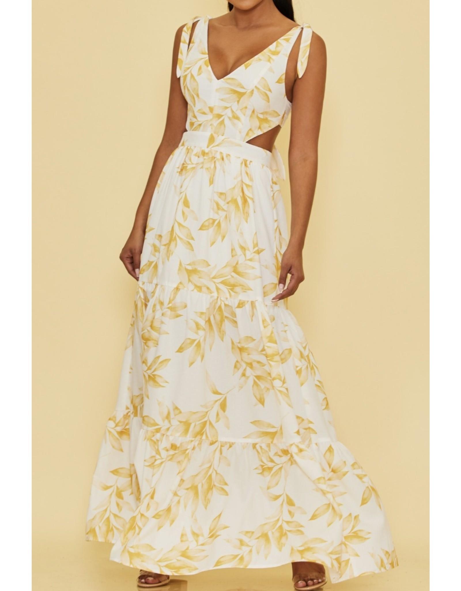 Leaf Print Tie Detail Maxi Dress - Yellow