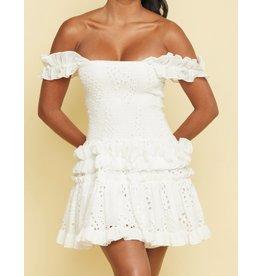 Eyelet Scrunch Dress - White