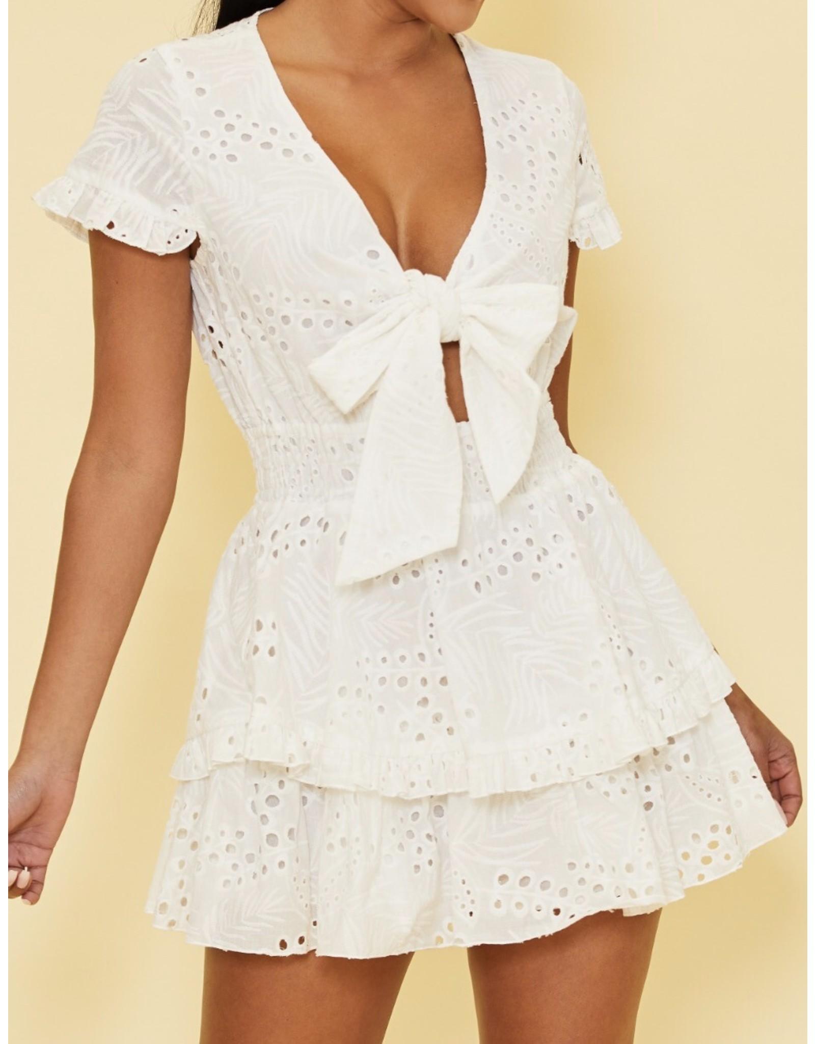 Tie Front Eyelet Dress - White