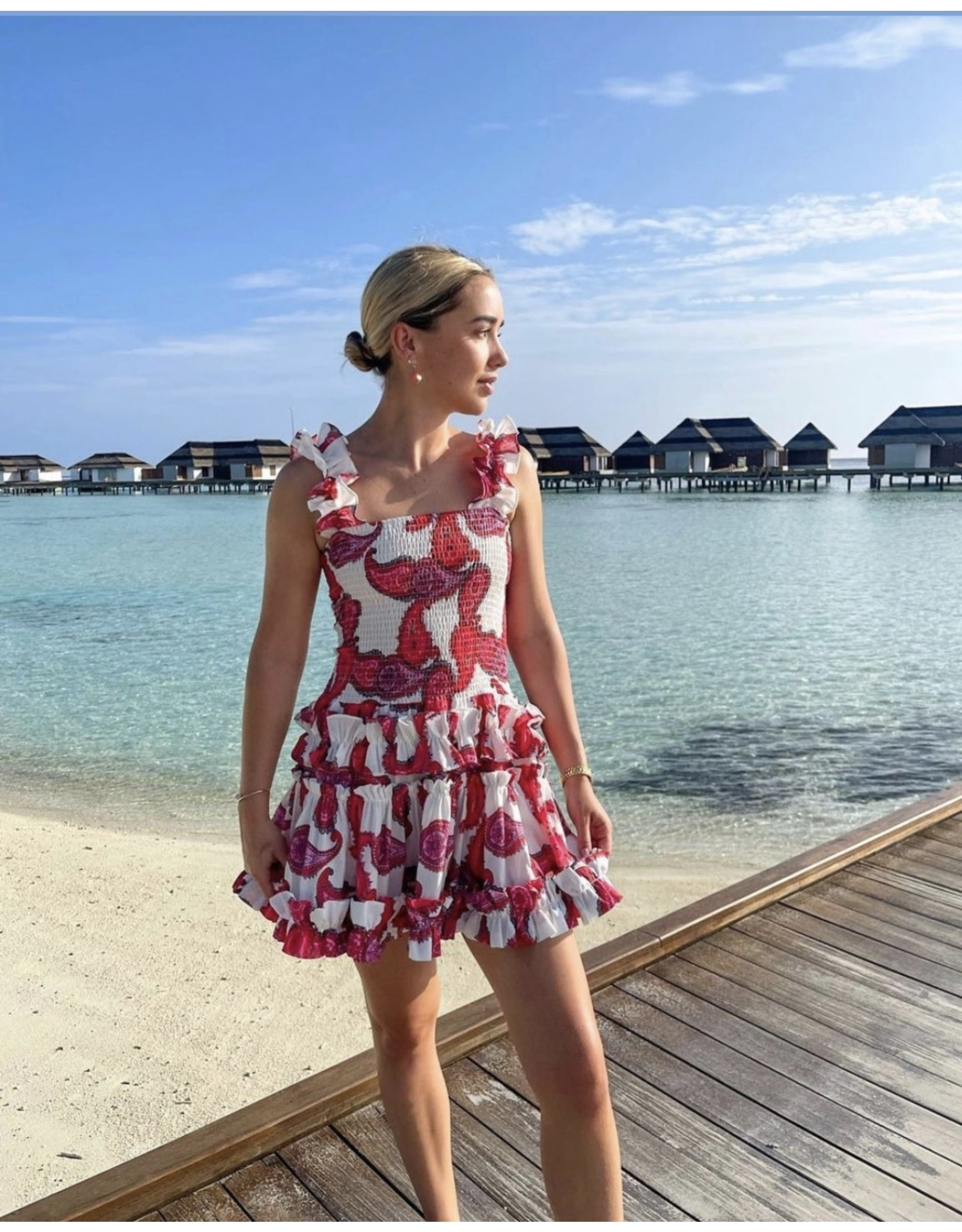 Paisley Scrunch Dress - Fuchsia