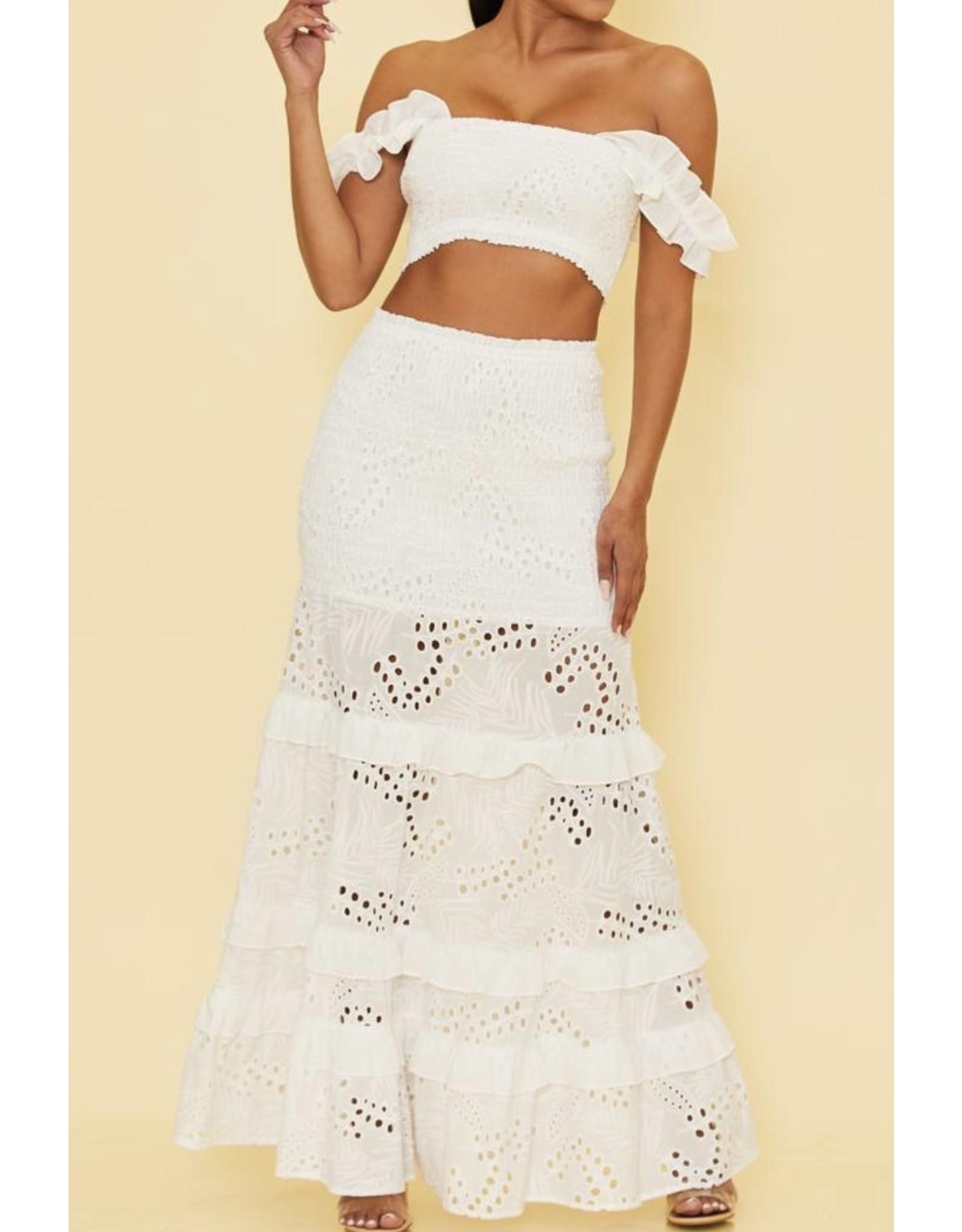 Smocked Detail Eyelet Lace Skirt Set - White