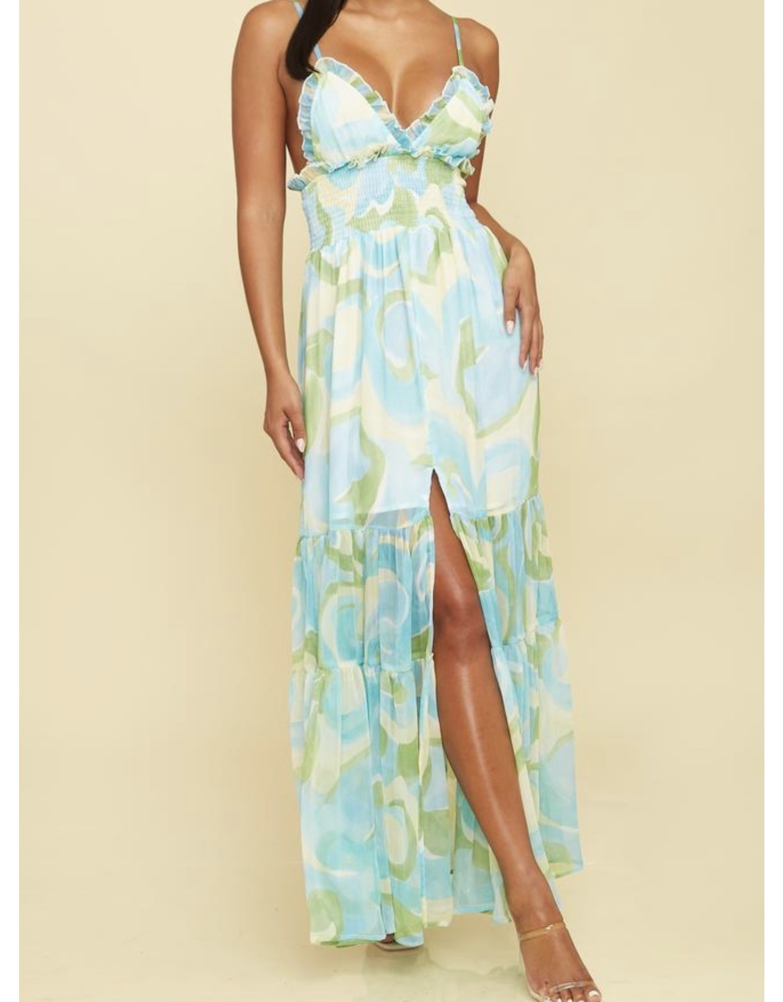 Abstract  Maxi Dress - Blue