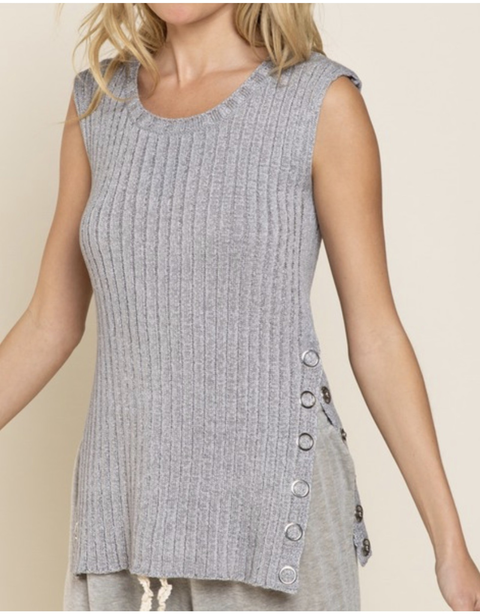 Side Button Sweater Top - Heather Grey
