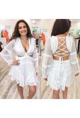 Lace Up Back Chiffon Dress - White
