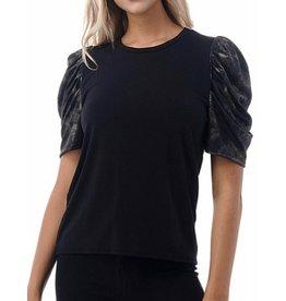 Ariella Tie Dye Foil Sleeves Top - Black