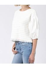 Baloon Sleeves Tweed Top - Cream