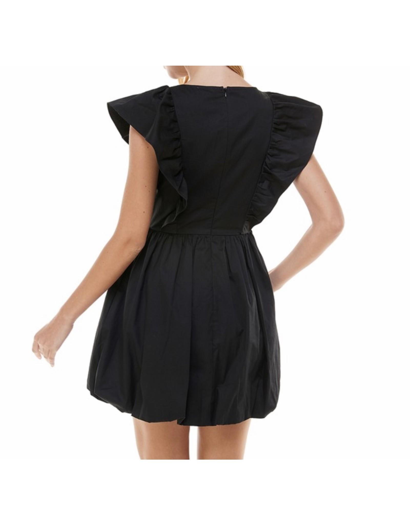 Smocked Detail Bubble Dress - Black