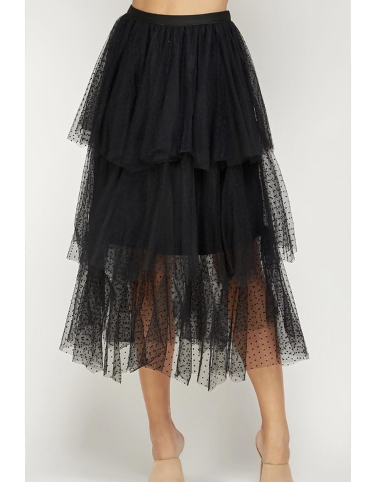 Tiered Polka Dot Tulle Skirt - Black