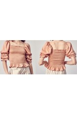 Smocked Detail Ruched Sleeves Top - Toast