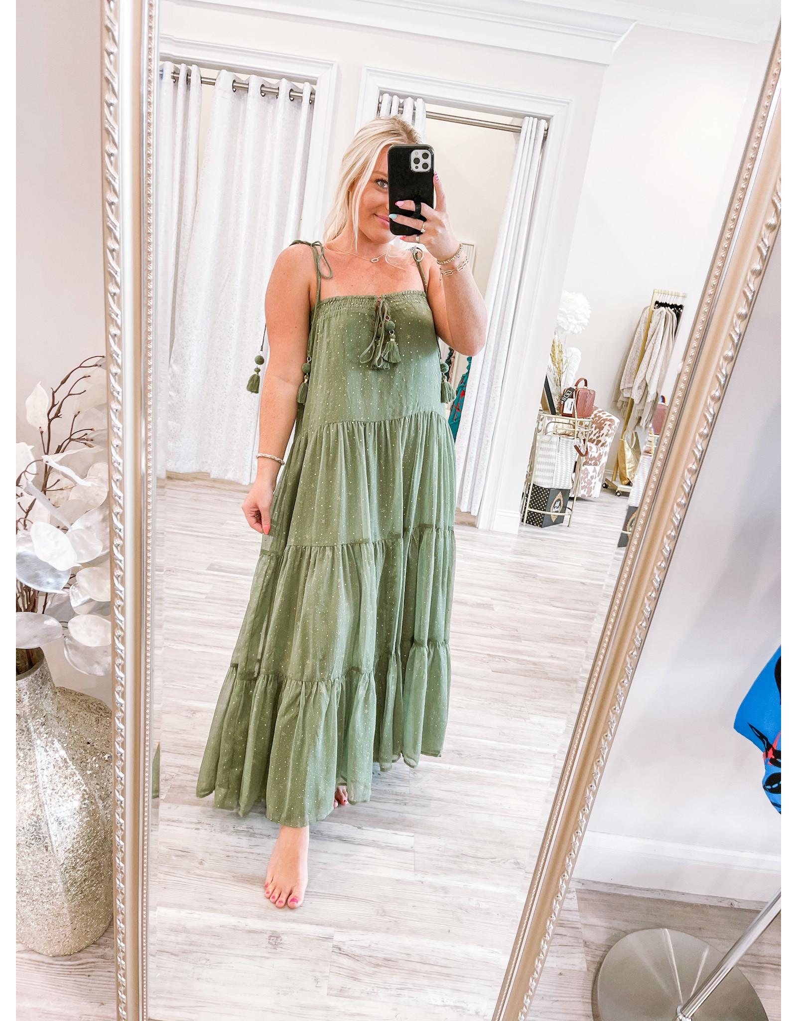 Storia Gold Stars Tassel Detail Maxi Dress - Olive