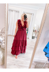 Storia Open Back Ruffle Maxi Dress - Wine