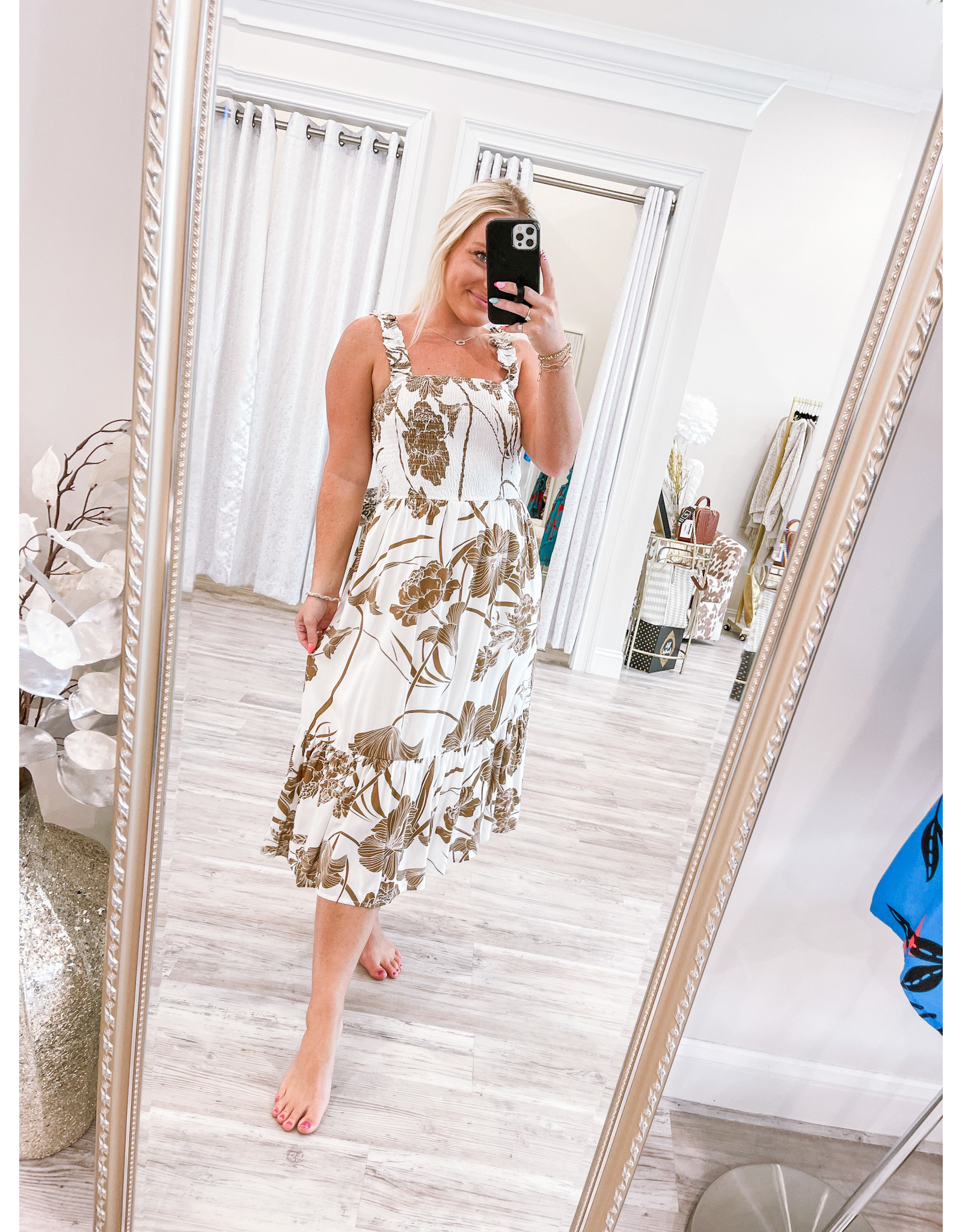 Floral Midi Dress - Brown
