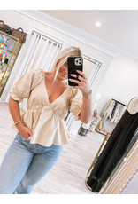 Puff Sleeves Smocked Detail Top - Oatmeal