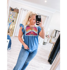 THML THML Embroidery Detail Denim Top