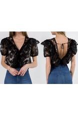 Fanco Lace Ruffle Bodysuit - Black