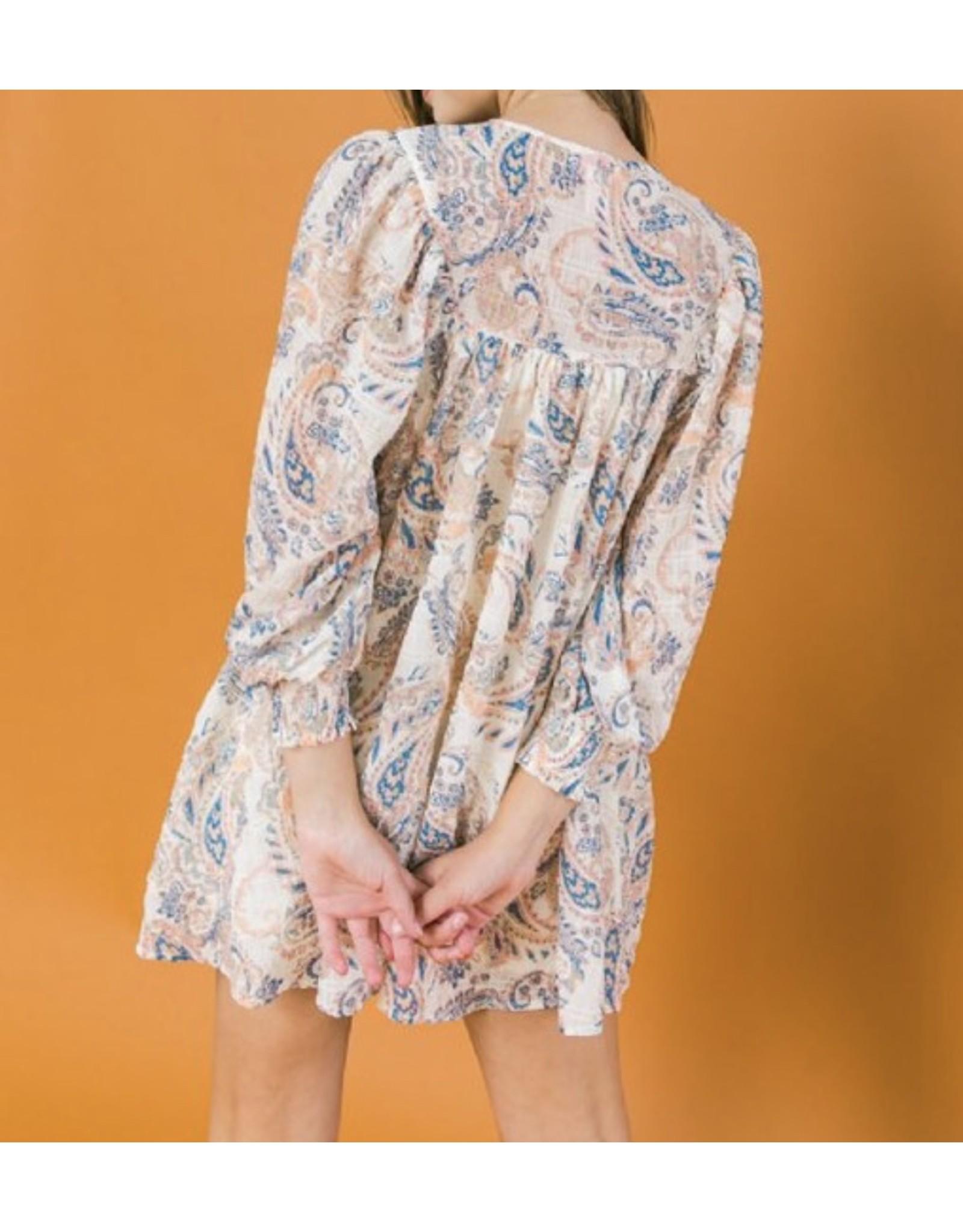 Paisley Boho Dress - Ivory