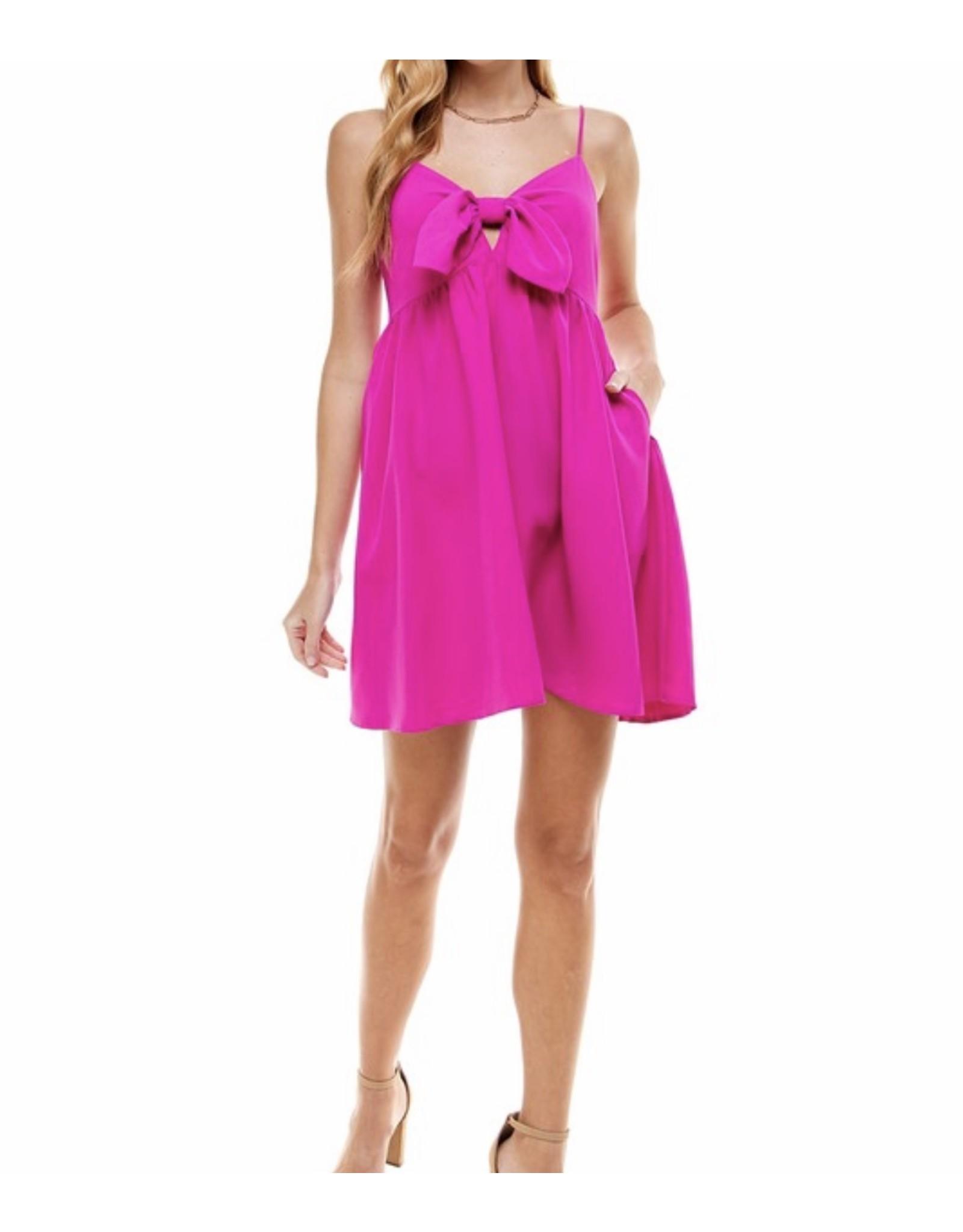 Bow Detail Dress - Magenta