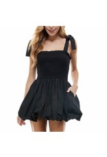 Smocked Bubble Dress - Black