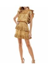 Pleated Metallic Dress - Gold