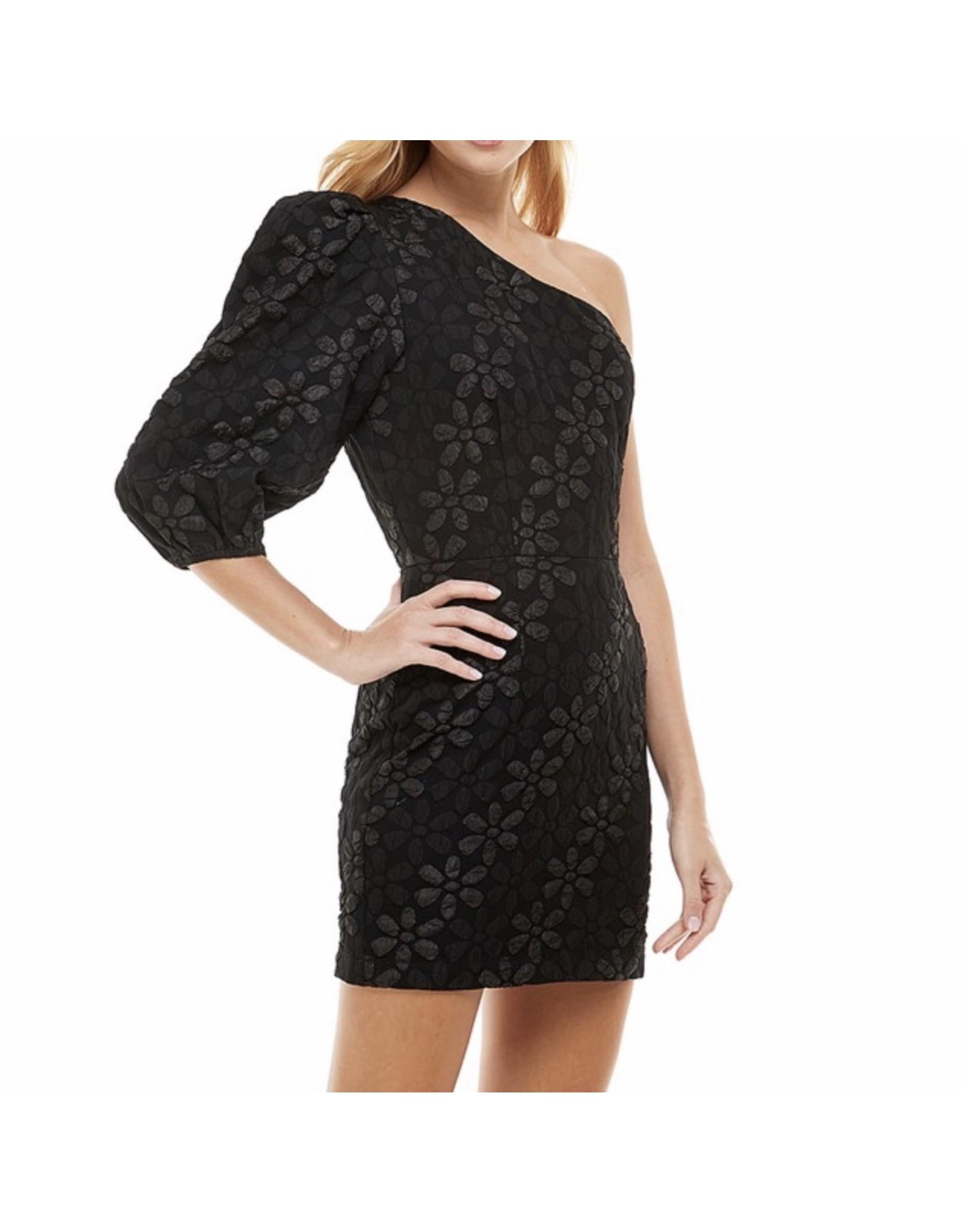 Floral Embossed One Shoulder Dress - Black