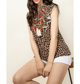 THML Embroidery Detail Leopard Top