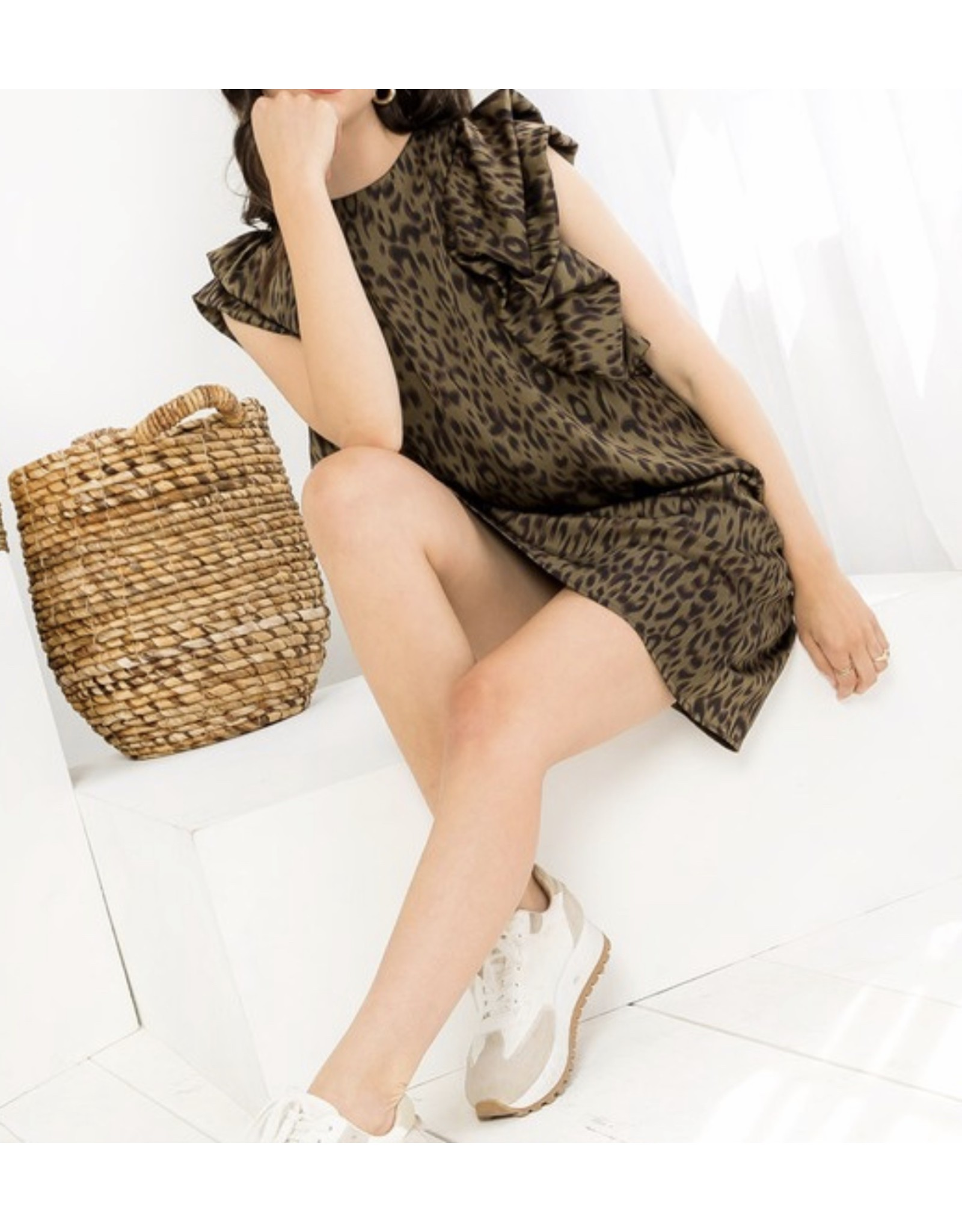 THML Leopard Puff Sleeves Satin Dress - Olive