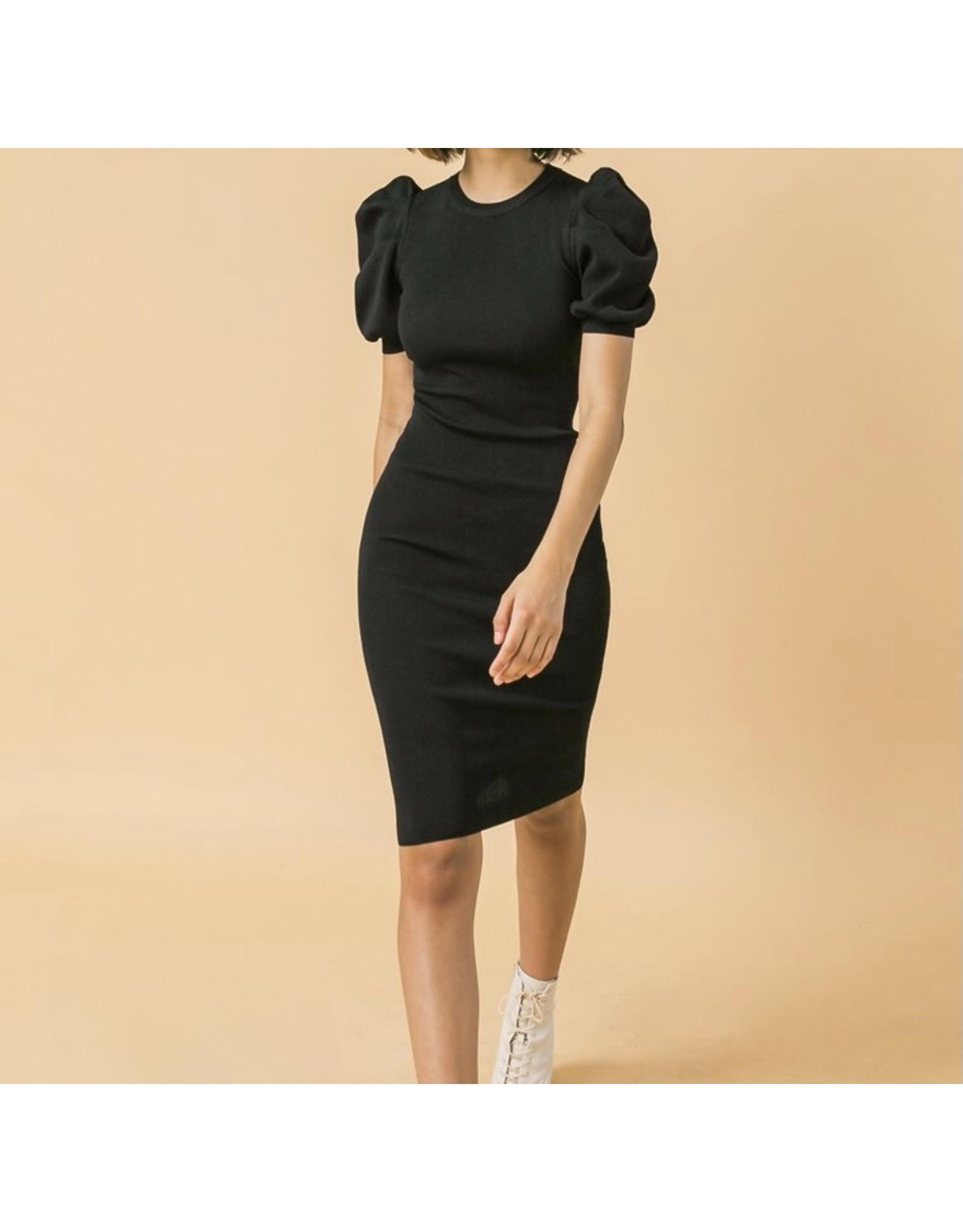 Puff Sleeves Sweater Midi Dress - Black
