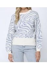 Zebra Ballon Sleeves Sweater - Blue