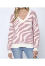 Fuzzy Zebra Sweater - Rose