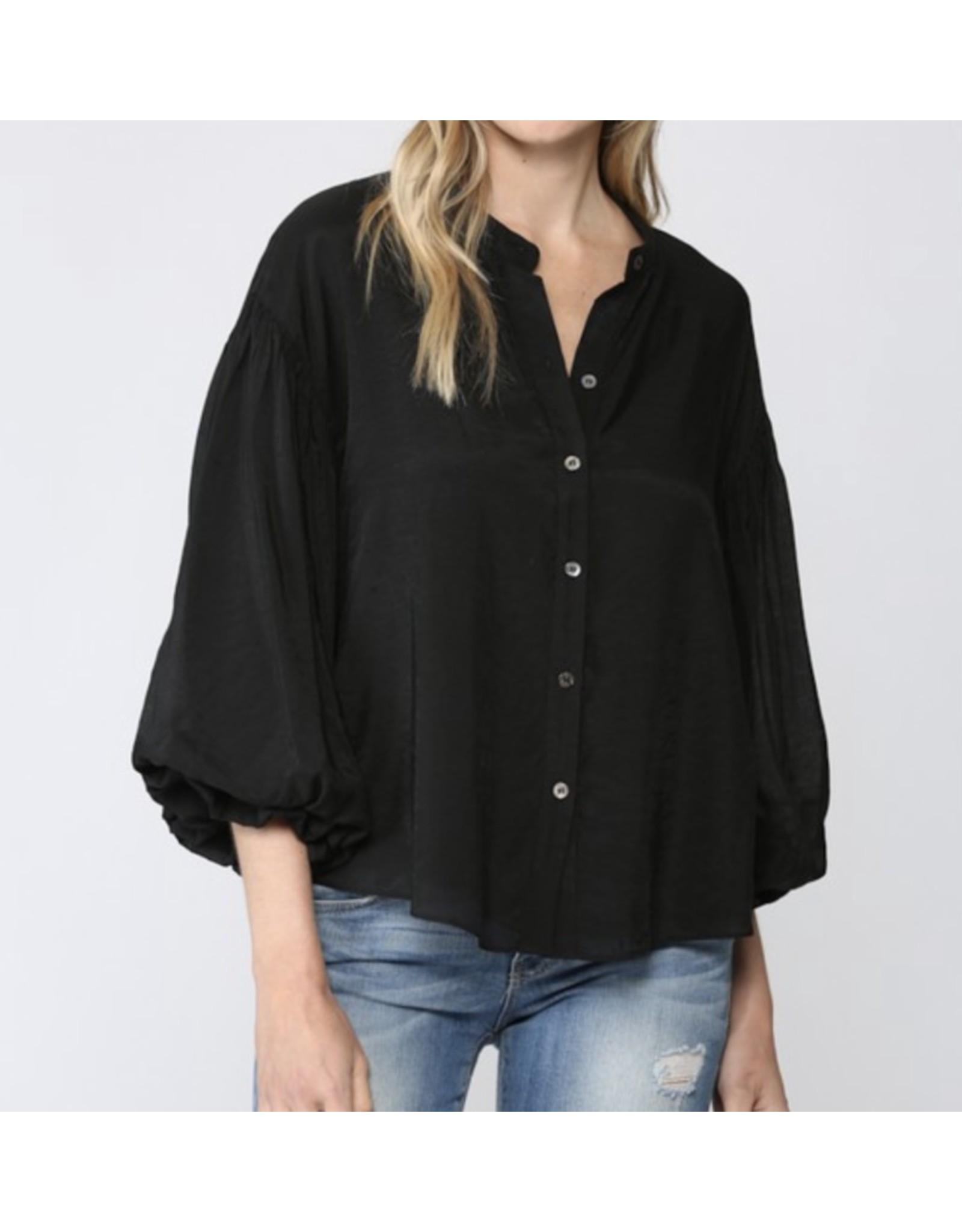 Puff Sleeves Button Down Shirt