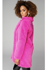 Diana Faux Fur Coat - Hot Pink