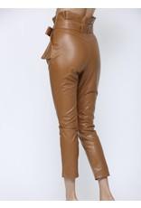 High Paperbag Waist Pleather Pants - Camel