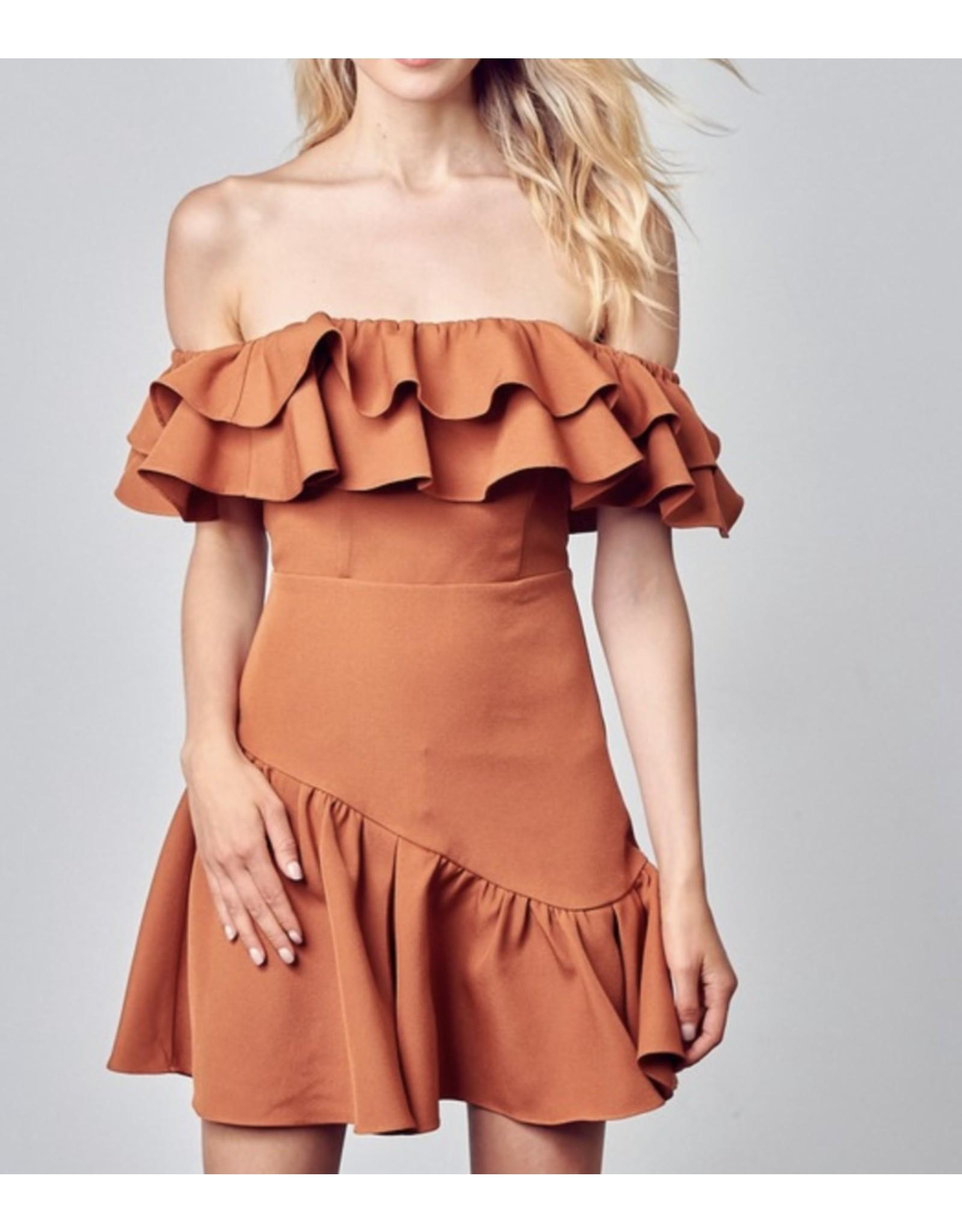 Assymetrical Ruffle Dress - Ginger