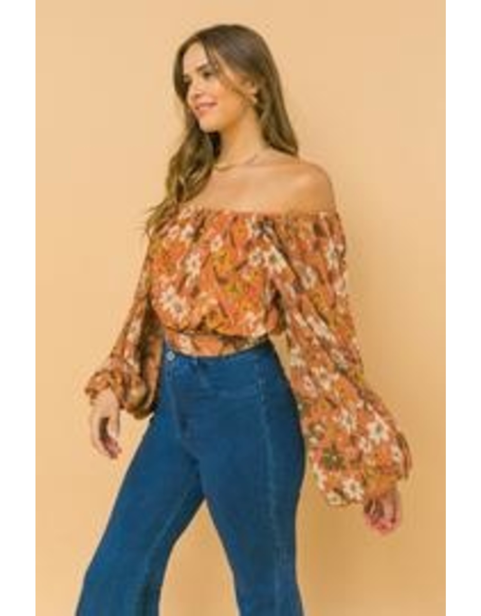 Bubble Sleeves Floral Off Shoulders Top - Rust