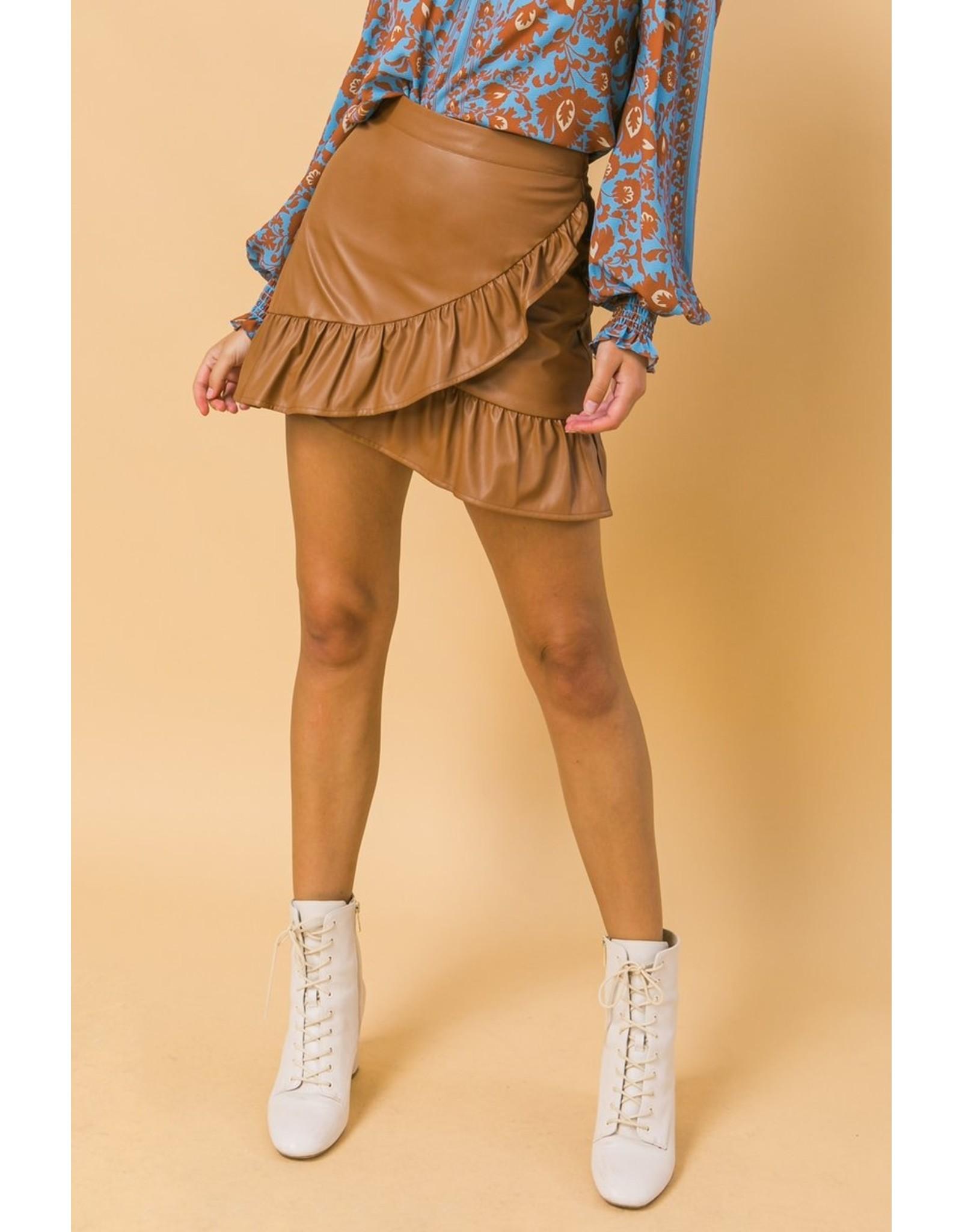 Ruffle Hem Pleather Skirt - Brown