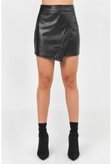 Assymetrical Pleather Skirt - Black