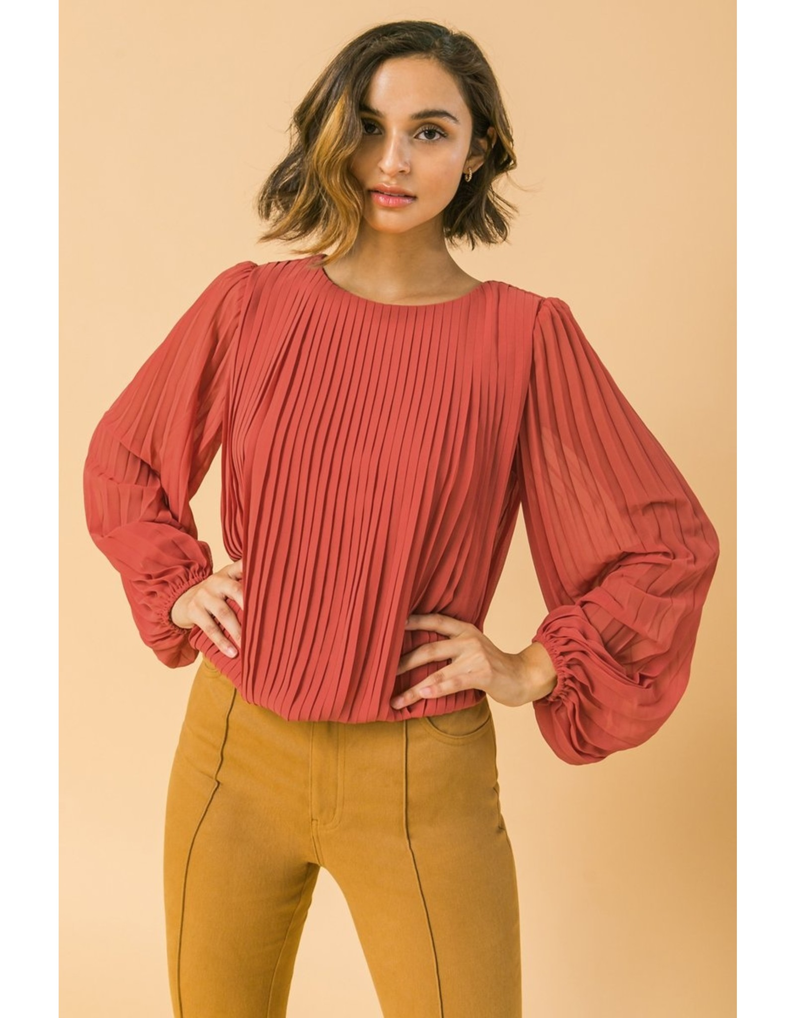 Pleated Bubble Sleeves Top - Rust