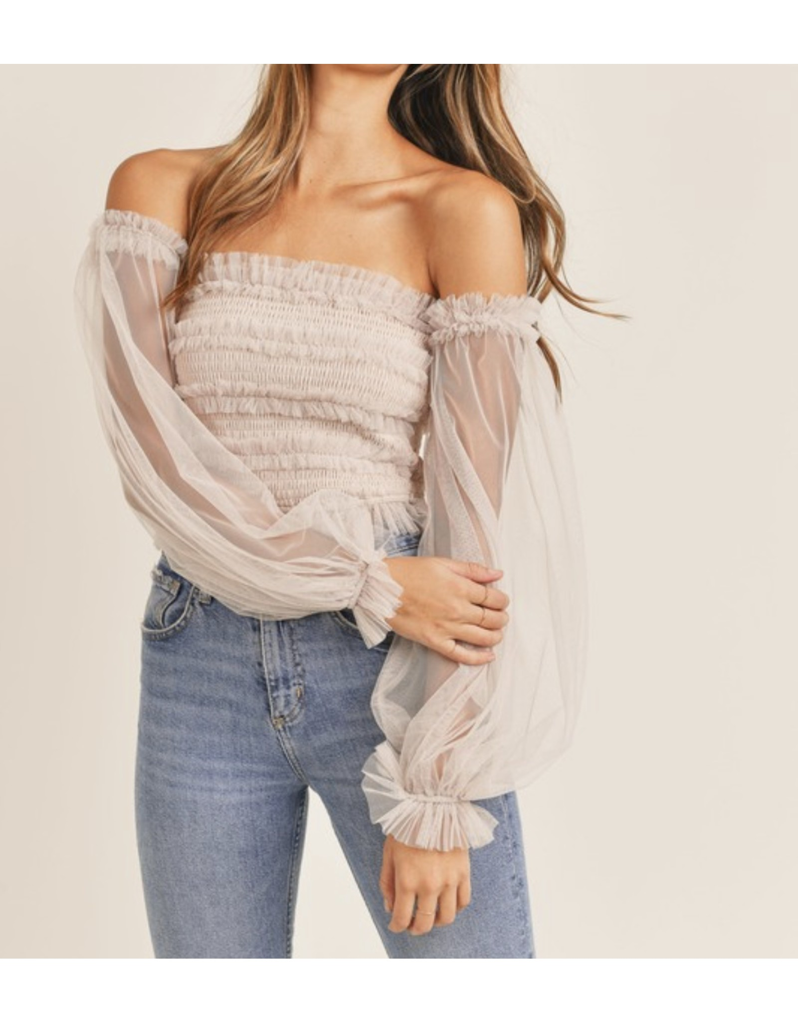 MABLE Smocked Tulle Off Shoulders Top - Cream