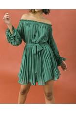 Pleated Off Shoulders Dress - Sage