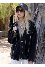 Studded Denim Jacket - Black