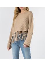 Fanco Asymmetrical Fringe Sweater - Mocha