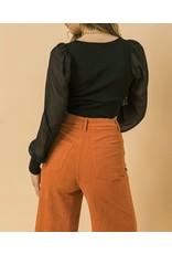 Drawstring Bubble Sleeves Knit Top - Black